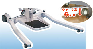 イージアップ 脚部の高さは60mm。 低床ベッドでも使用可能