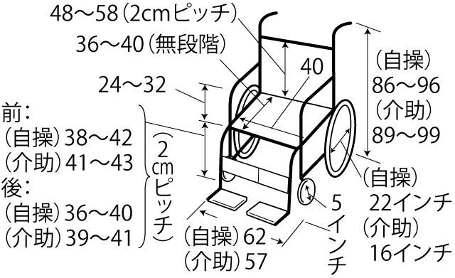 転倒防止装置付自操型車いす サイズ