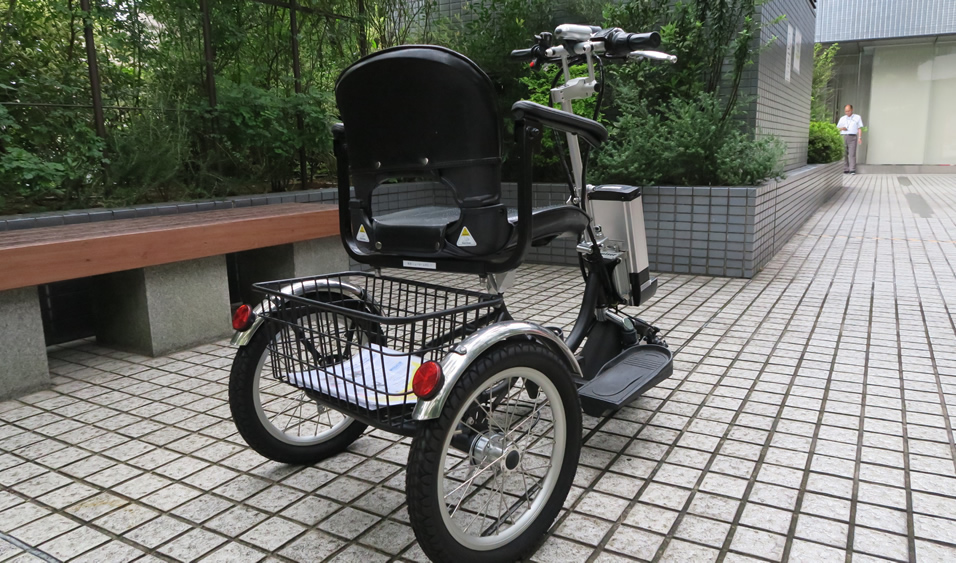 リアビュー(余裕の大型バスケット) 電動三輪車 クルーザー
