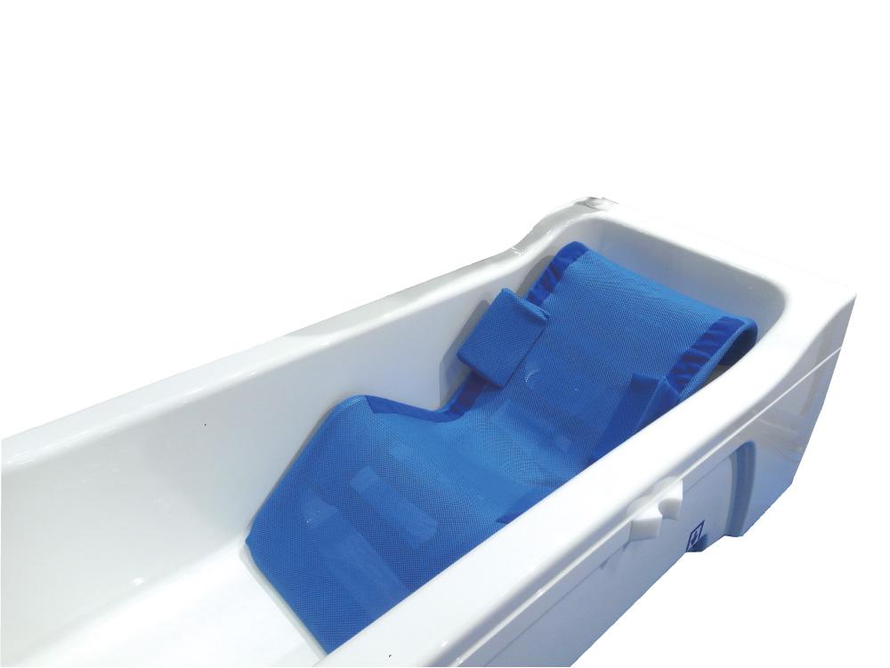 浴槽内に置き入浴者の体を支えます。据付けのサイドブロックは身体を支えます。