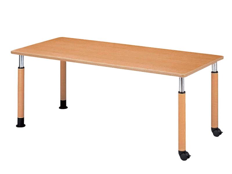 10段階昇降タイプ 4本脚テーブル(角型) キャスター付