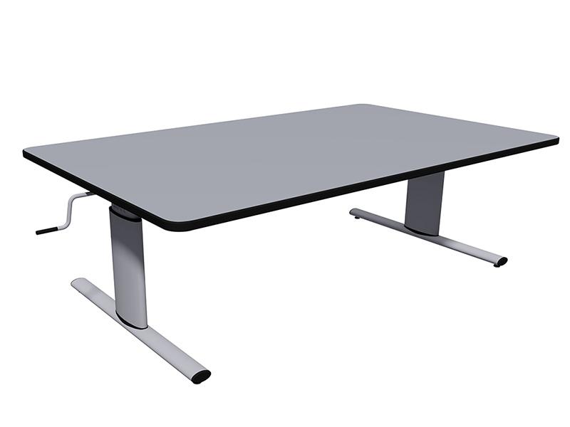 ハンドルで高さ調節できるテーブル