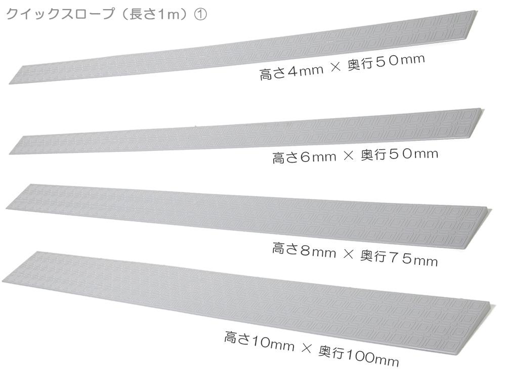 高さ4mm,6mm,8mm,10mm,12mm,14mm,16mm,18mmの8種類の段差スロープ