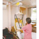 天井走行リフト グルドマン GH1,GH1Qの使用例、レール、リフティングハンガー、スリングシートは別売りです。